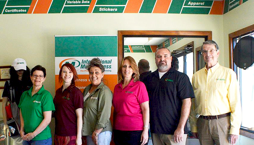 The newly expanded staff of International Minute Press in Concord, NC - L-R: Stacey Faggart, Valerie Leonard, Wanda Caudill-Hoffman, Chris McGroder, Rodney Carter, and Mack Petrea. http://www.minutemanpressfranchise.com