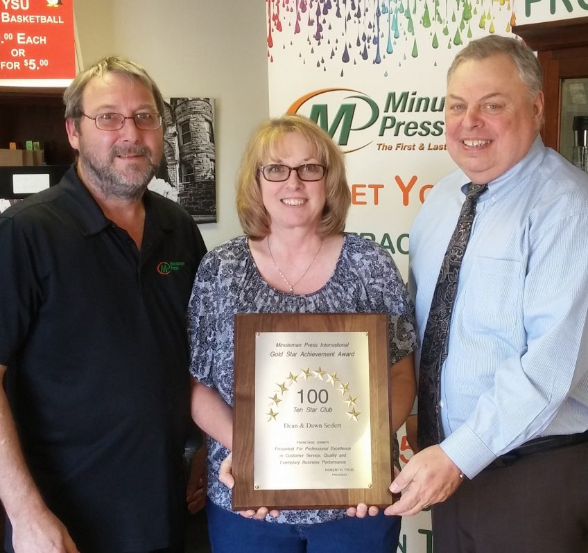 Minuteman Press franchise owners Dean Seifert (left) and Dawn Seifert (center), along with Gary Nowak (right), Minuteman Press International Regional Vice President for the Ohio region. http://www.minutemanpressfranchise.com