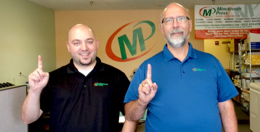 Minuteman Press franchise in Londonderry, NH celebrates 1 year in business. From left to right: Steve Hahn, Graphic Designer/Customer Service Rep.; and Robert Bean, Owner http://www.minutemanpressfranchise.com