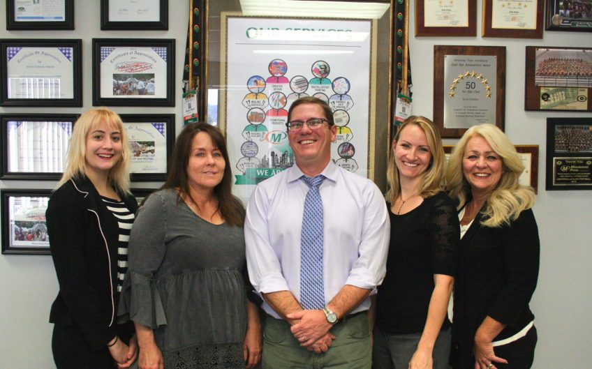 Meet the team of Minuteman Press, Centerville, Ohio - left to right: Mercedes Franklin, Lisa Phillips, Jesse Gaither, Sarah Fitzpatrick, and Lori Raleigh. http://www.minutemanpressfranchise.com