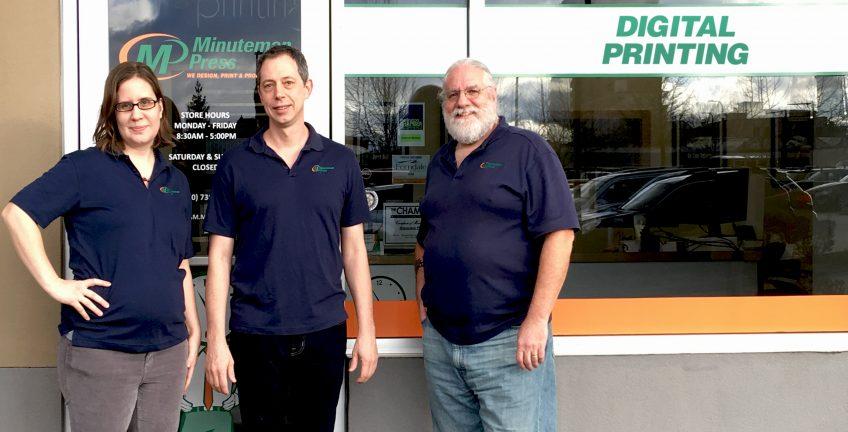 Meet the Team of Minuteman Press, Bellingham, Washington: Shannon Devine, Michael Tilley, and Cameron Stewart. http://www.minutemanpressfranchise.com