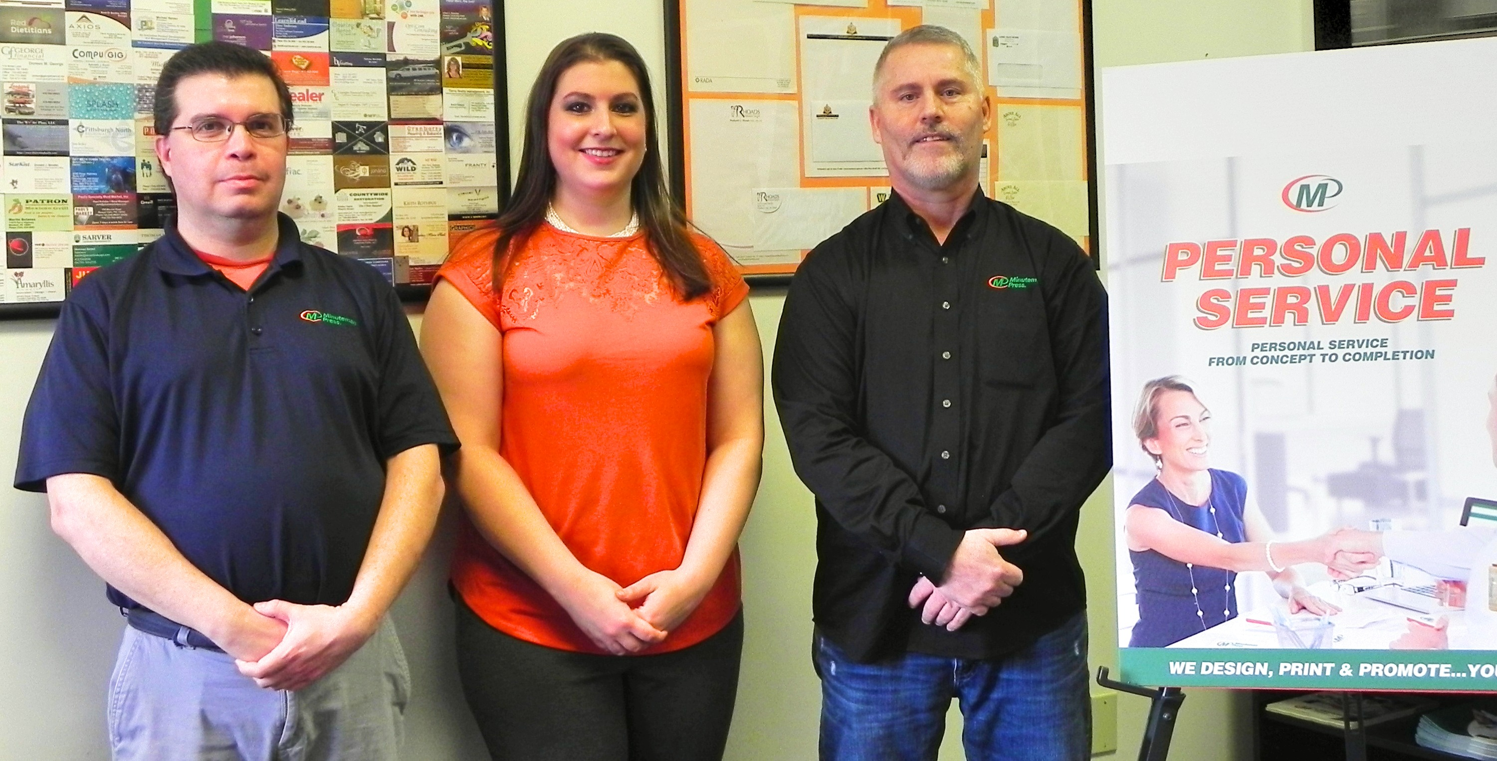Meet the Team of Minuteman Press, Cranberry Township, PA - L-R: Don Green, Production & Finishing; Melanie Williams, Manager & Design; and Rich Coyner, Owner. http://www.minutemanpressfranchise.com