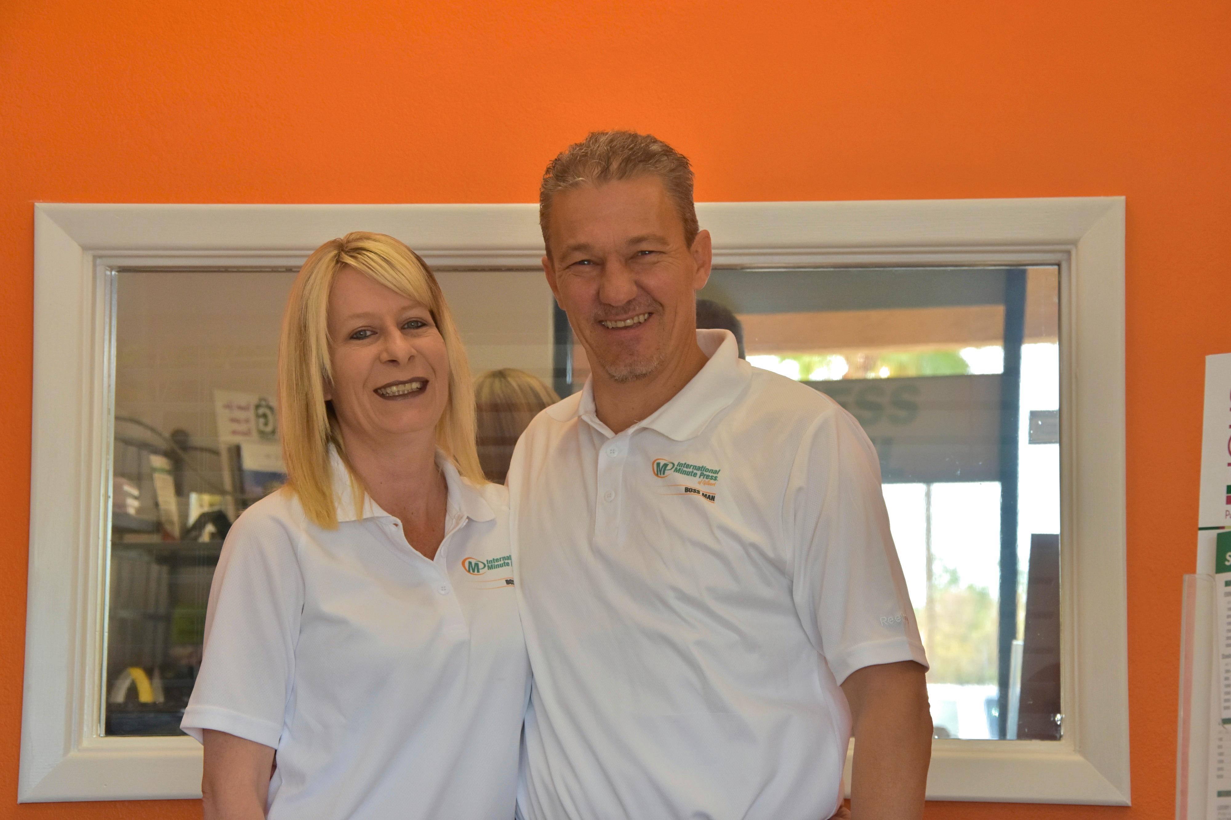 Angel and David Rindfleisch, Owners, International Minute Press, Gilbert, AZ. http://www.minutemanpressfranchise.com