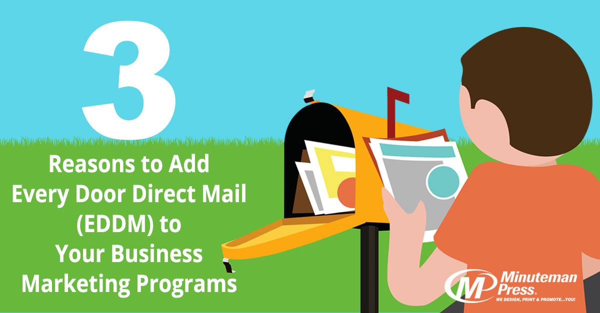 3 Reasons to Add Every Door Direct Mail (EDDM) to Your Business Marketing Programs http://www.minutemanpressfranchise.com