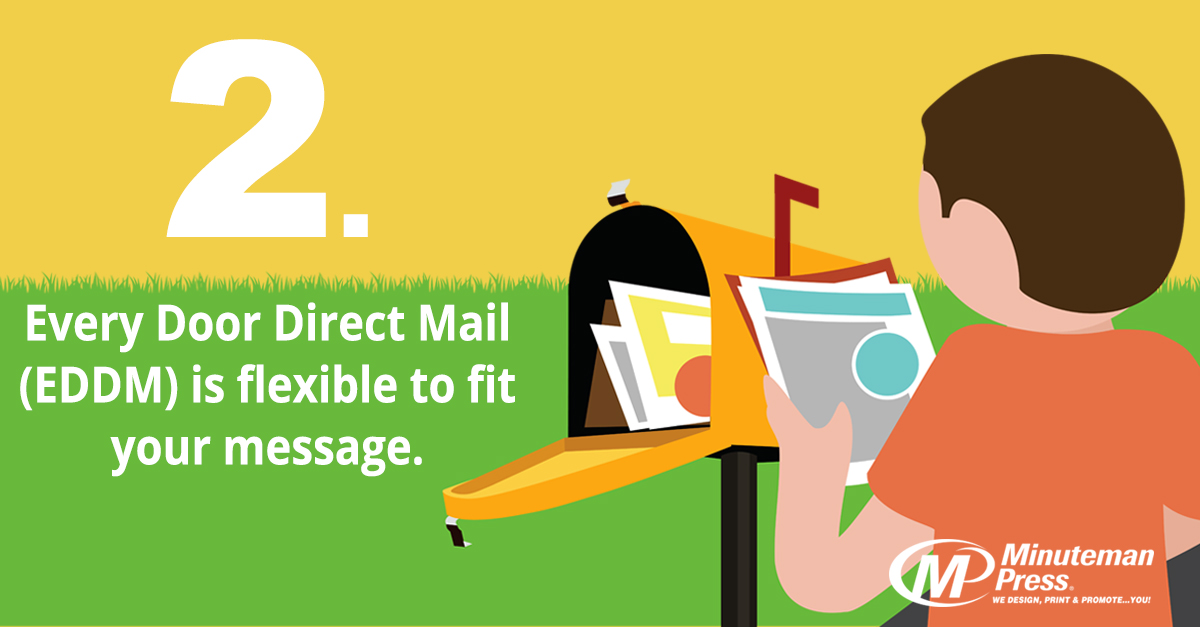 2. Every Door Direct Mail (EDDM) is flexible to fit your message. http://www.minutemanpressfranchise.com