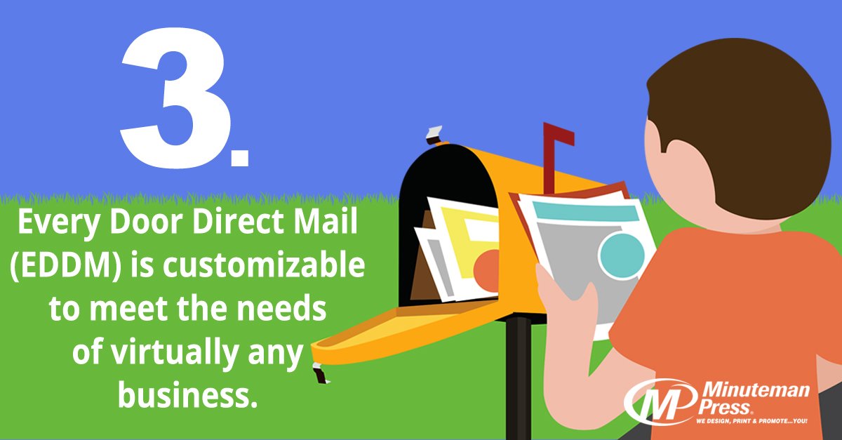 3. Every Door Direct Mail (EDDM) is customizable to meet the needs of virtually any business. http://www.minutemanpressfranchise.com
