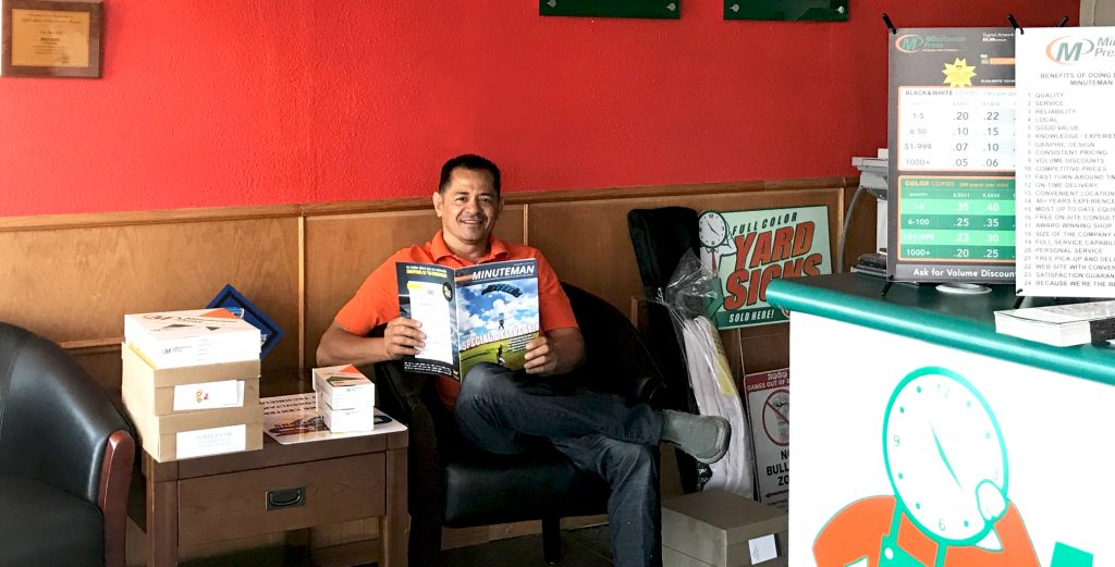 Manny Castro inside the lobby of his Minuteman Press franchise in Downey, CA. http://www.minutemanpressfranchise.com