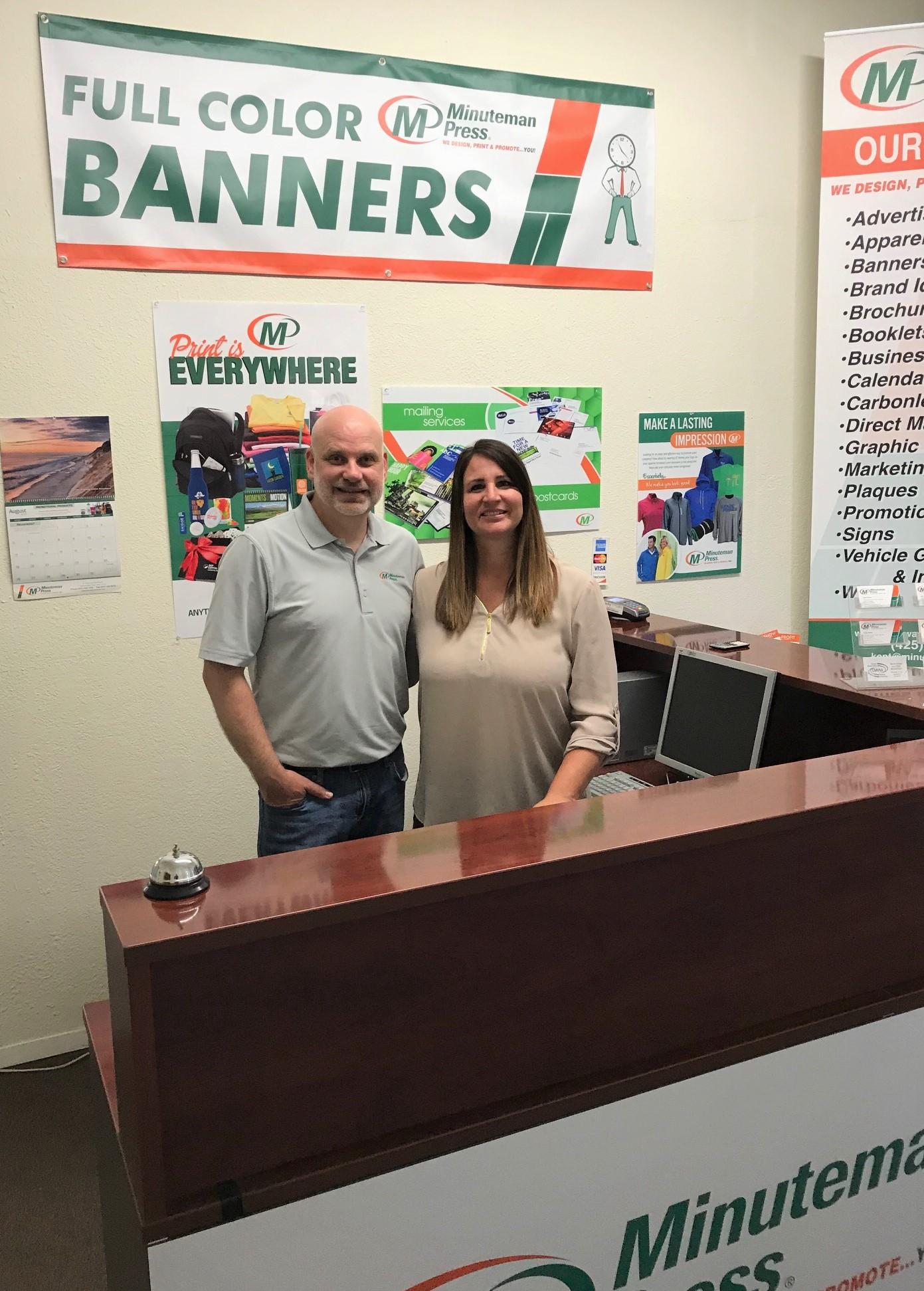 Jeff and Dawn Brown, owners, Minuteman Press franchise, Kent, Washington. http://www.minutemanpressfranchise.com
