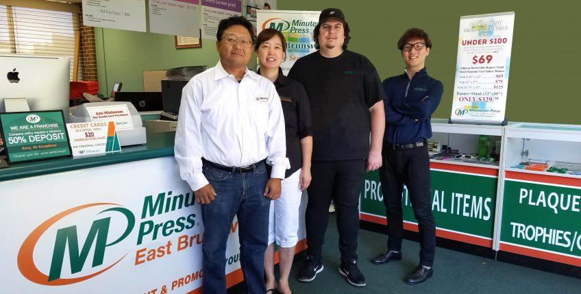 Meet the team of Minuteman Press, East Brunswick, New Jersey - L-R: Joe Kim, Gina Kim, Tyler Langlois, and JooHyeng Lee. http://www.minutemanpressfranchise.com