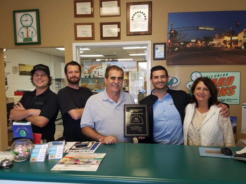 Matthew Rebelo, second from right, is shown with his parents and staff at their Encinitas, CA Minuteman Press franchise location. From left: Jake Armacost, Production; Shaun Peebles, former Production Manager at Encinitas and now co-owner of Minuteman Press of Sorrento Valley; Gabriel Rebelo, co-owner of Encinitas; Matt Rebelo, COO at Encinitas and now co-owner of Sorrento Valley; and Marcia Rebelo, co-owner of Minuteman Press of Encinitas. http://www.minutemanpressfranchise.com