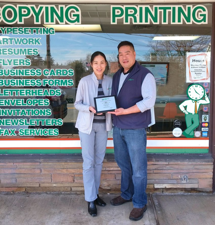 Michele and Conway Wong own the Minuteman Press design, marketing, and printing franchise in Ho-Ho-Kus, New Jersey. http://www.minutemanpressfranchise.com