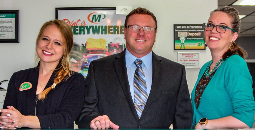 Meet the Team of Minuteman Press, Chester, VA – L-R: Michelle Bender, David Farmer, and Sarah Correale. http://www.minutemanpressfranchise.com