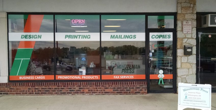 Minuteman Press printing franchise, Wilmington, Delaware - storefront. http://www.minutemanpressfranchise.com