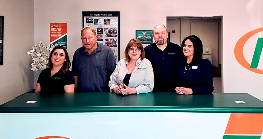 Meet the Team of Minuteman Press, Victorville, CA – L-R: Kaylynn Riggs, Production Manager; Brian Matthews, Owner; Jerri Matthews, Owner; Jeremy Hinson, General Manager/Graphic Design; and Carolina Hinson. http://www.minutemanpressfranchise.com