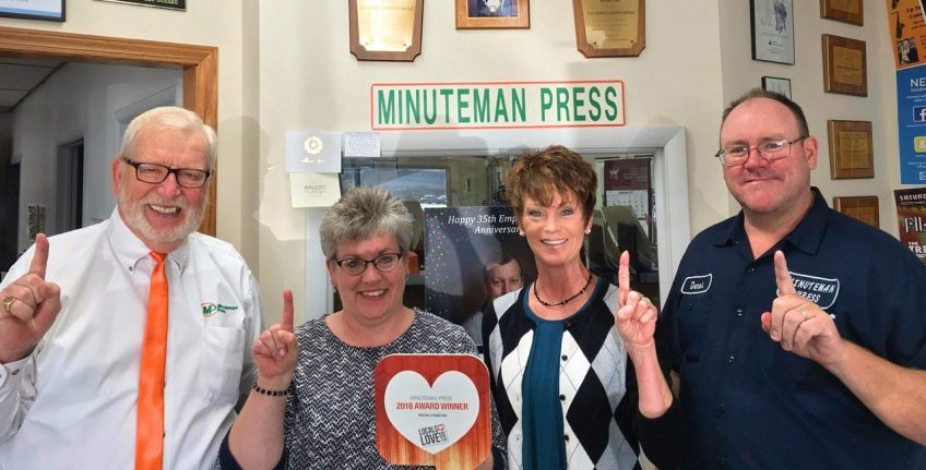 Meet the award-winning team of Minuteman Press, Davenport, IA: Pictured left to right: Morris Merle; Sue Grant; Wendy Minnick; and Derek Grant. http://www.minutemanpressfranchise.com
