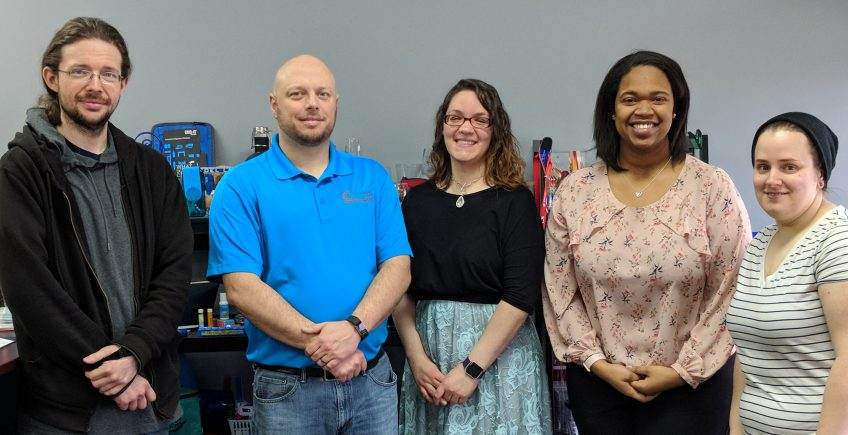 Meet the Team of Minuteman Press, Akron, Ohio - L-R: Jimmy Bruce, Graphic Designer; Parris Frisby, Franchise Owner; Lauren Lutz, Customer Service; Sierra Turner, Customer Service; and Kelly Andrews, Production Manager. http://www.minutemanpressfranchise.com
