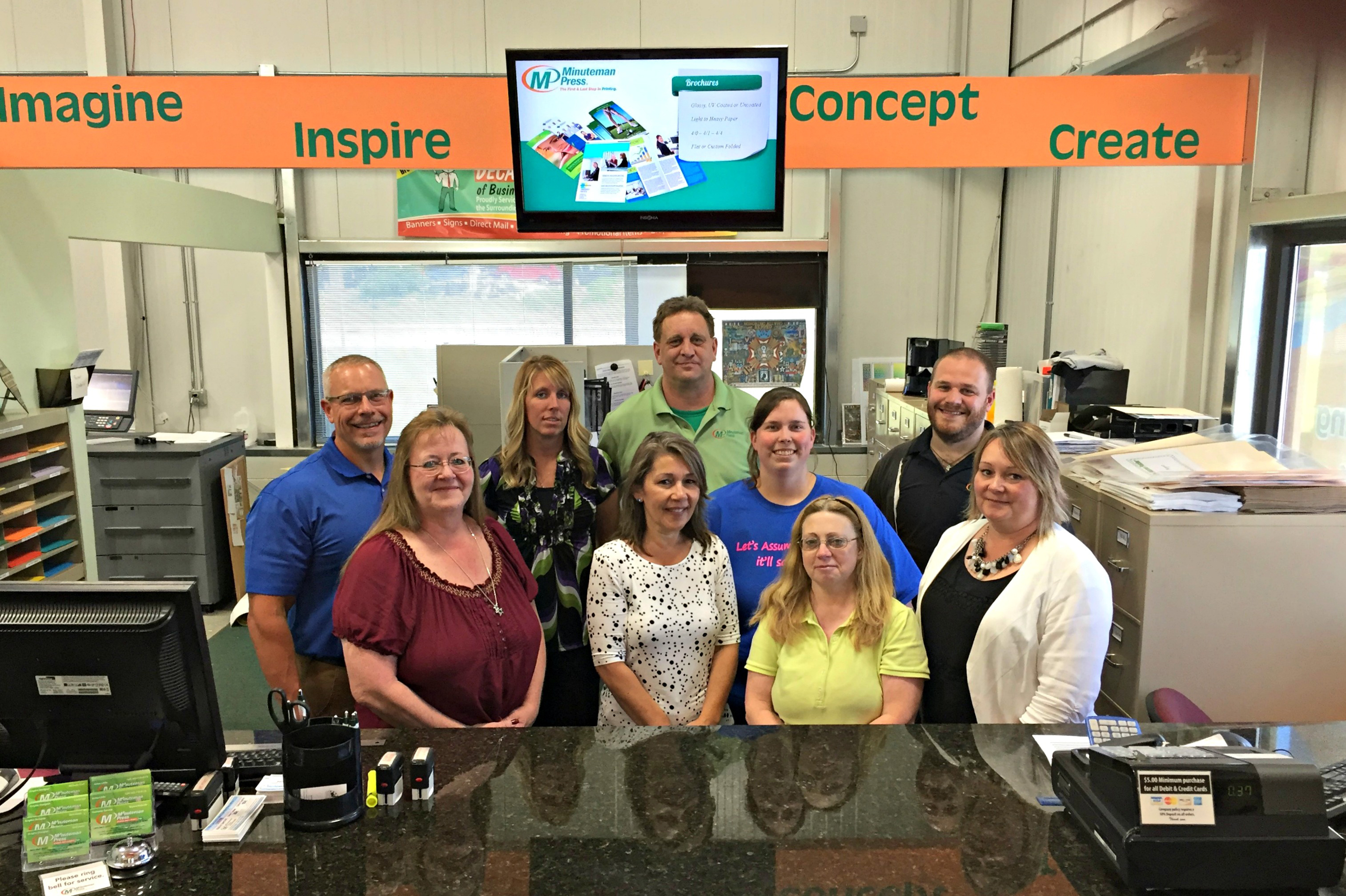 Meet Jim Little (left) and the staff of Minuteman Press, Burlington, Wisconsin. http://www.minutemanpressfranchise.com
