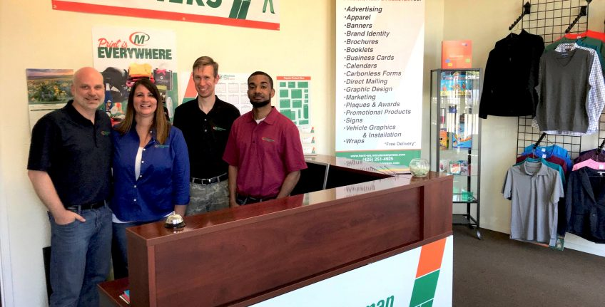 Meet the Team of Minuteman Press, Kent, Washington – L-R: Dawn Brown; Jeff Brown; Micah; and Zach. http://www.minutemanpressfranchise.com