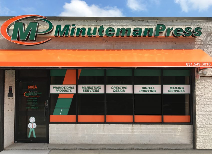 Pictured is Steve Blustein's Minuteman Press franchise in Melville, Long Island, NY. Steve's brand new location at 600A Walt Whitman Road features upgraded signage and window graphics that reflects Minuteman Press' position as the modern printing industry. http://www.minutemanpressfranchise.com