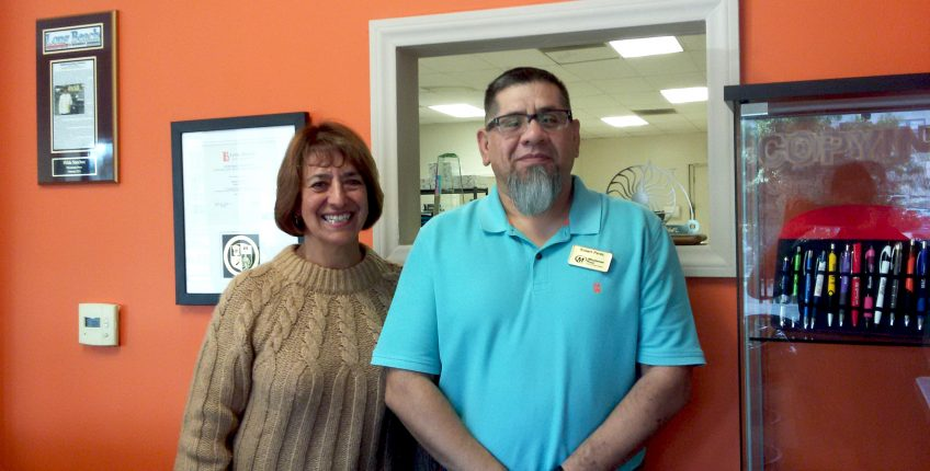 Hilda Sanchez, Co-Owner, and Robert Perez, Manager, Minuteman Press printing franchise, Long Beach, California. http://www.minutemanpressfranchise.com