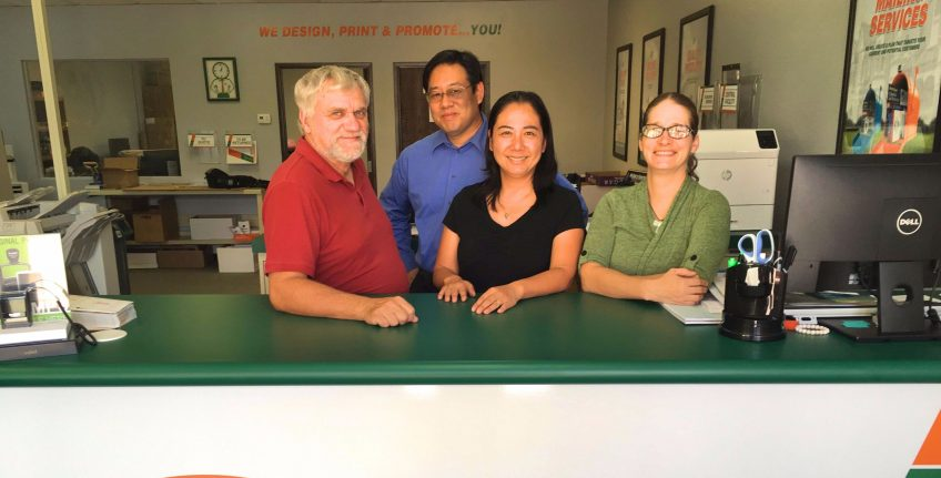 Meet the team of Minuteman Press, Westminster, Colorado - L-R: Jeff Danelek, James Juo, Lotus Juo, and Amanda Simpson. http://www.minutemanpressfranchise.com
