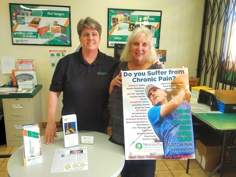 The Minuteman Press design, marketing and printing franchise in Las Vegas shows off marketing materials produced for the Neuropathy and Pain Centers of Las Vegas. https://minutemanpressfranchise.com