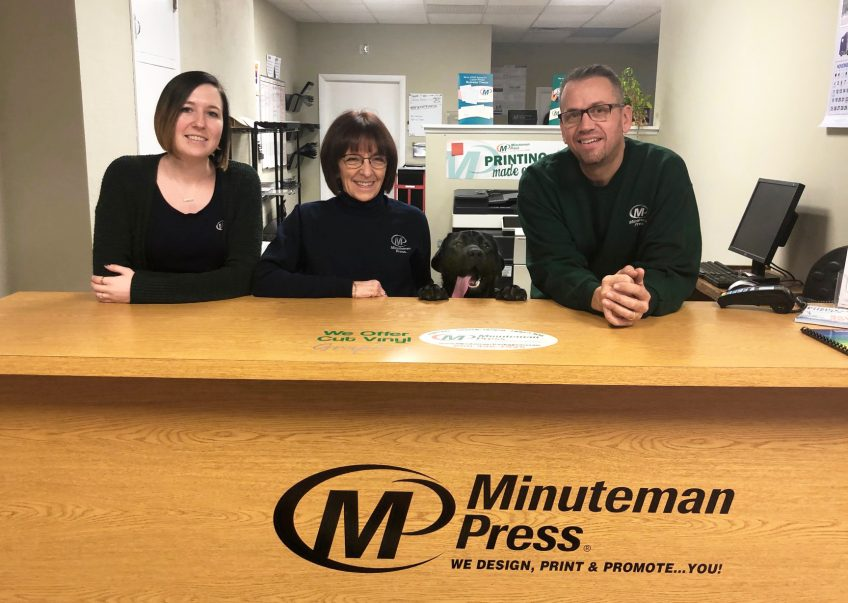 Meet the Team of the Minuteman Press franchise, Torrington, CT - L-R: Sydney Ash, Lynn O'Connor, Shop Dog Leo, and Jack Reynolds. https://minutemanpressfranchise.com