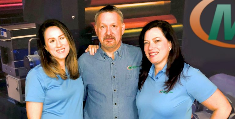 Minuteman Press franchise photo: East Haven and Hamden, CT owner Ron Burlakoff (center) with daughter Britany (left) and sister Ruth (right). https://minutemanpressfranchise.com