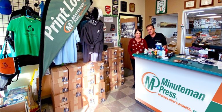 Marcia and Gabriel, Rebelo, owners, Minuteman Press franchise, Encinitas, California. https://minutemanpressfranchise.com